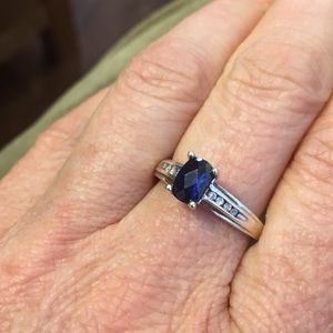 Sterling blue stone & CZ ring